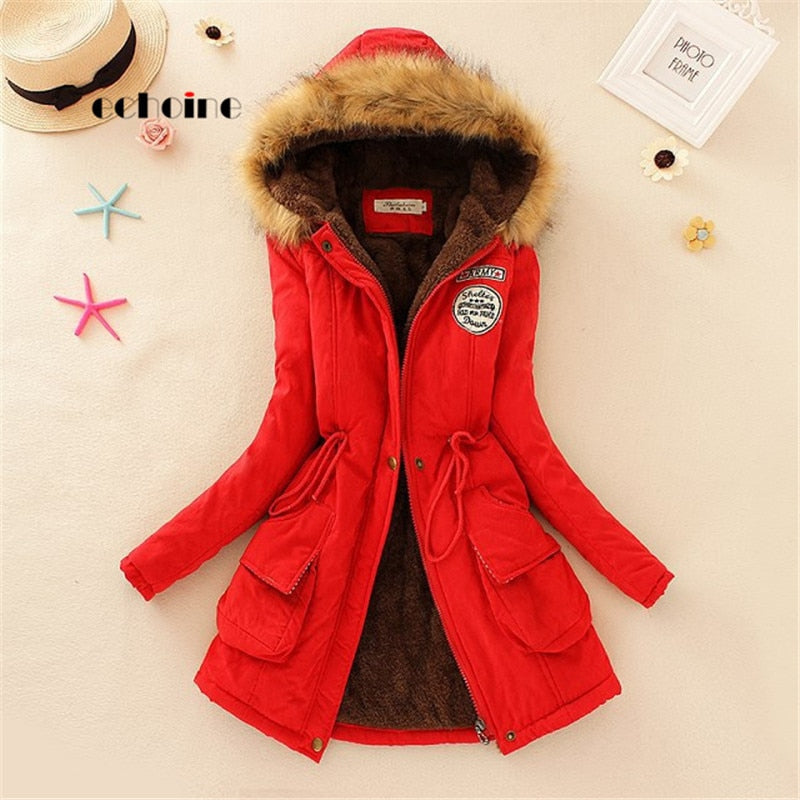 Echoine Women Long Sleeve Hooded Faux Fur Coat