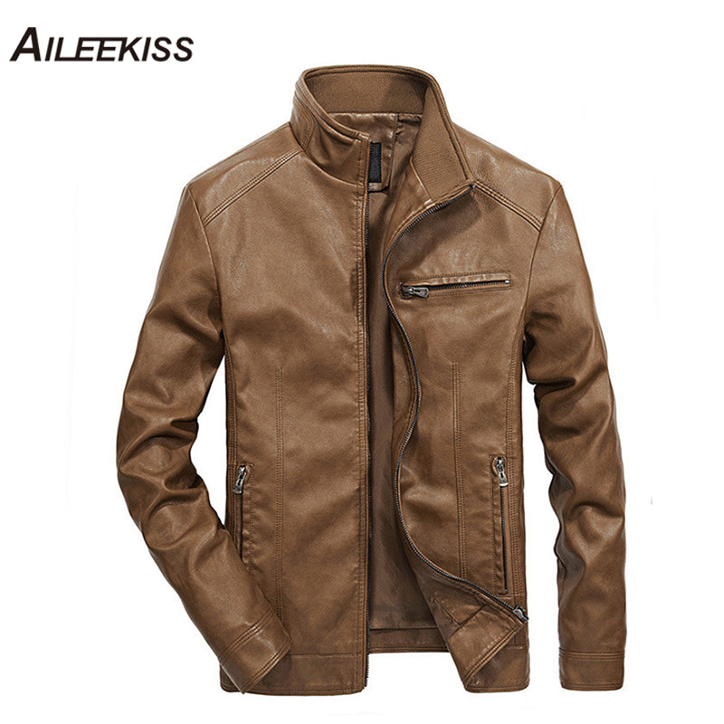 Men Solid Casual Biker Leather Jacket