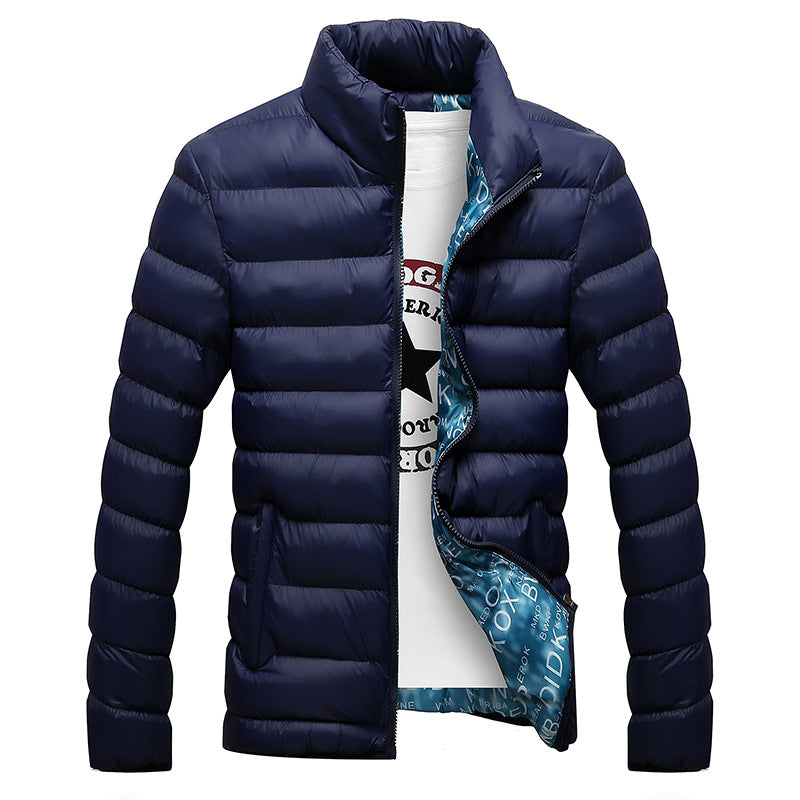 Stand Collar Male Parka Jacket