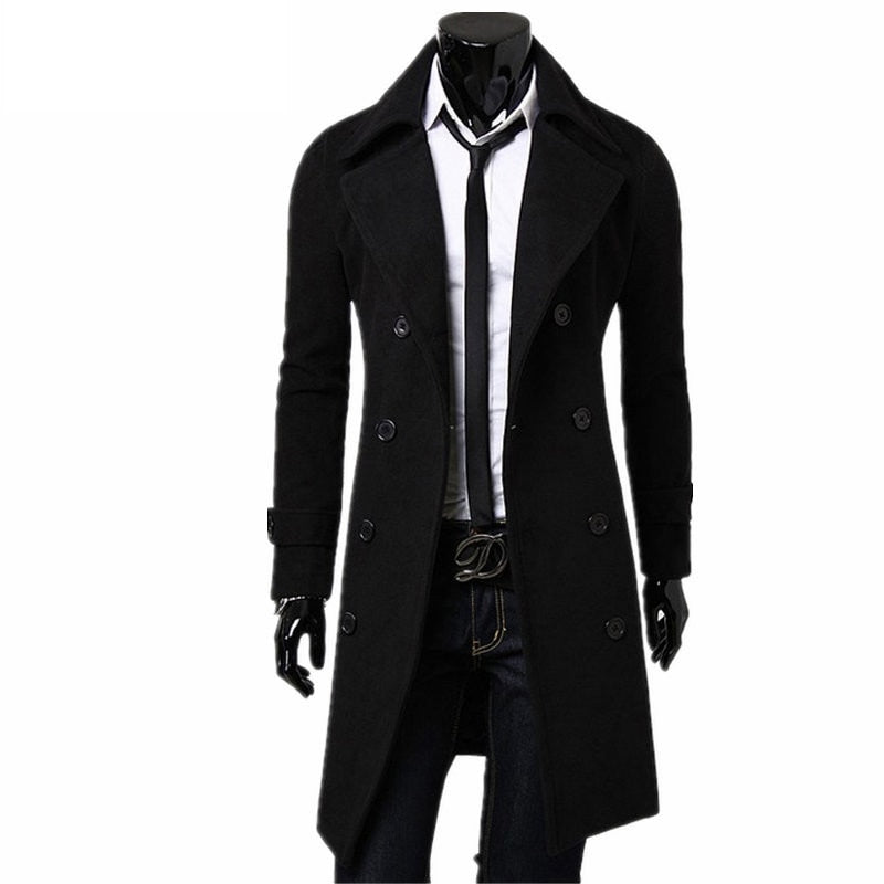 Trench Men's Overcoat Slim Fit - Jacketfy