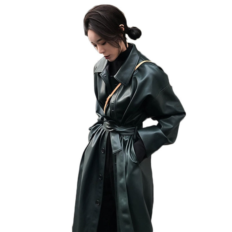 Women Loose Belt PU Leather Windbreaker