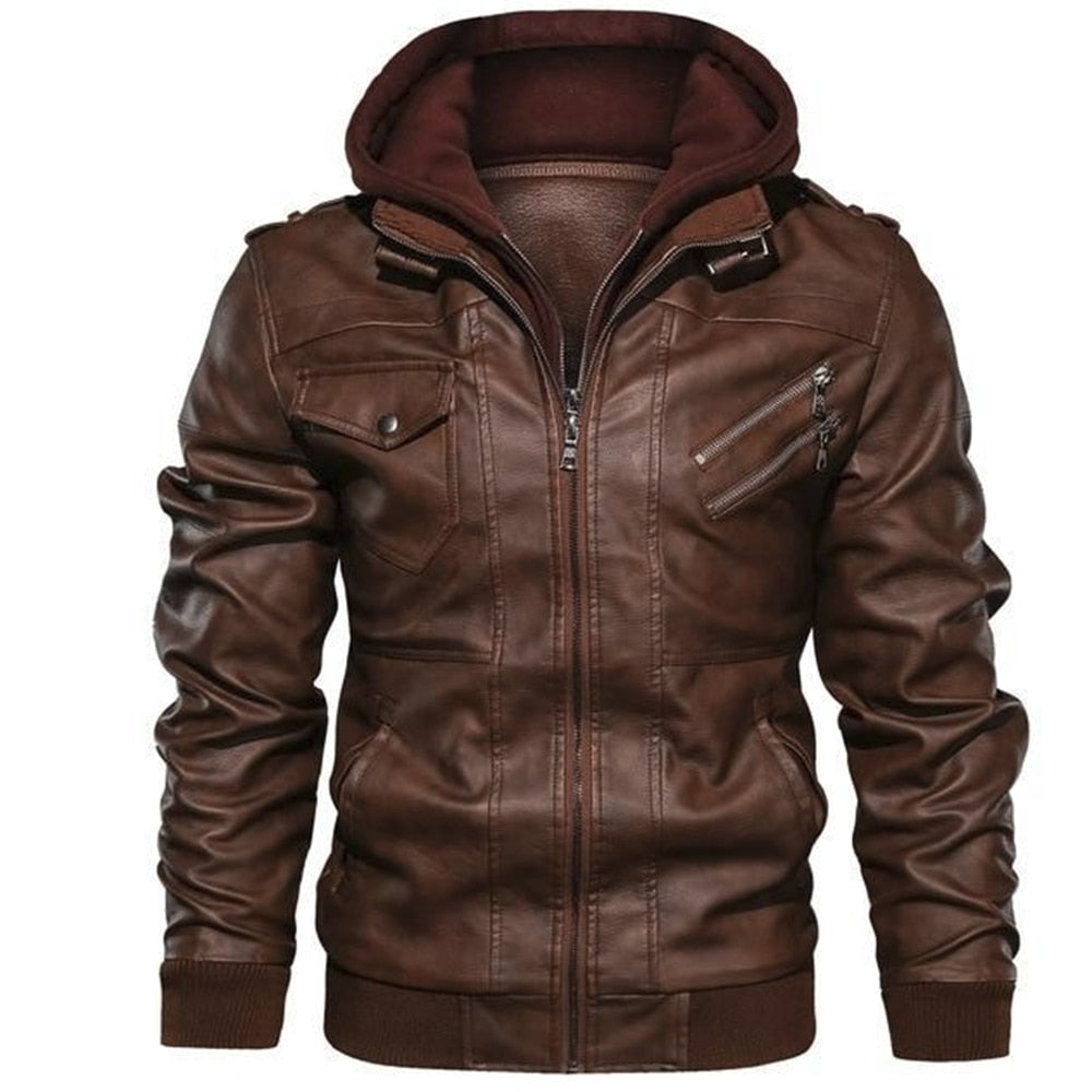 Motorcycle Oblique Zipper PU Jacket