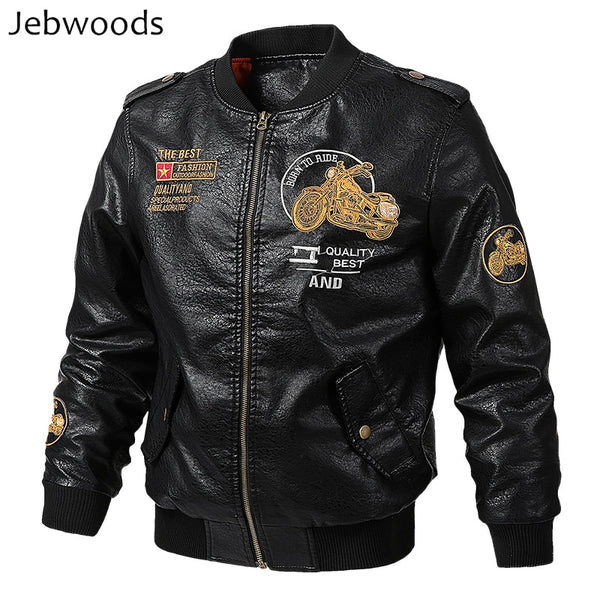Jebwoods Men's Motorcycle Leather Jacket