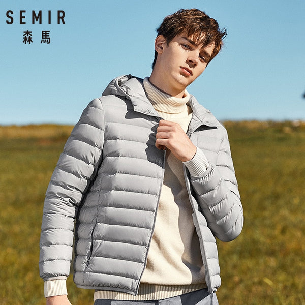 SEMIR Men Hooded Windbreaker White Duck Coat