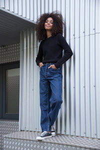 MAYA - High Waist Straight Leg Organic Jeans - Dark