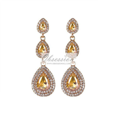 Carlita Crystal Earrings - Gold