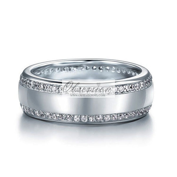 Men's Lincoln Wedding Band - Sterling Silver