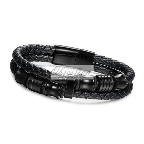 Men's Rider Leather Bracelet - Black
