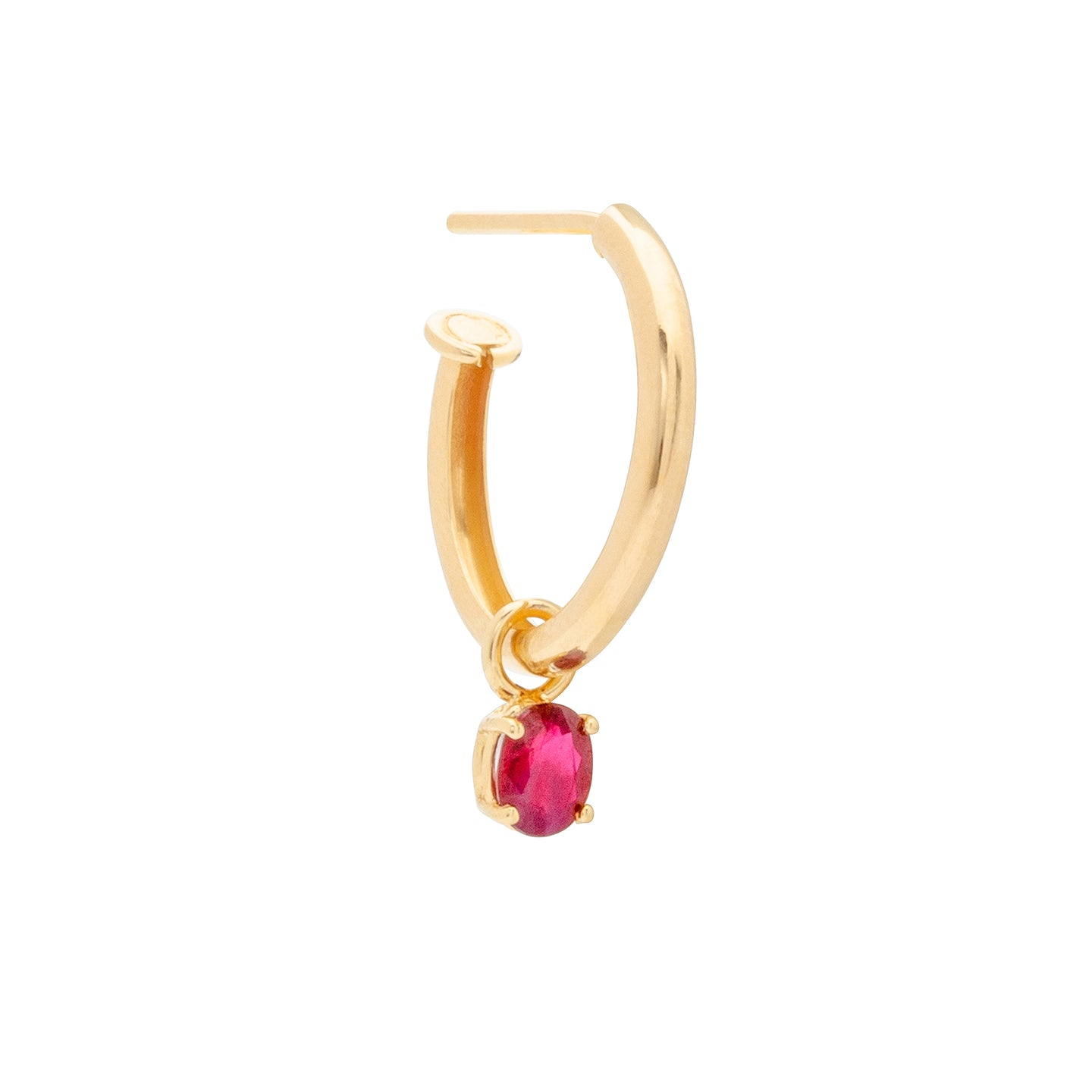 Aynur Abbott - E#52 Gold hoop medium with ruby earring