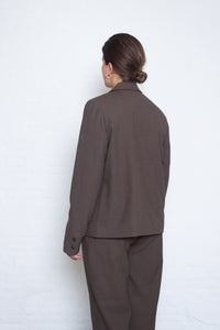 Delikatessen - Cropped double breasted jacket - brown