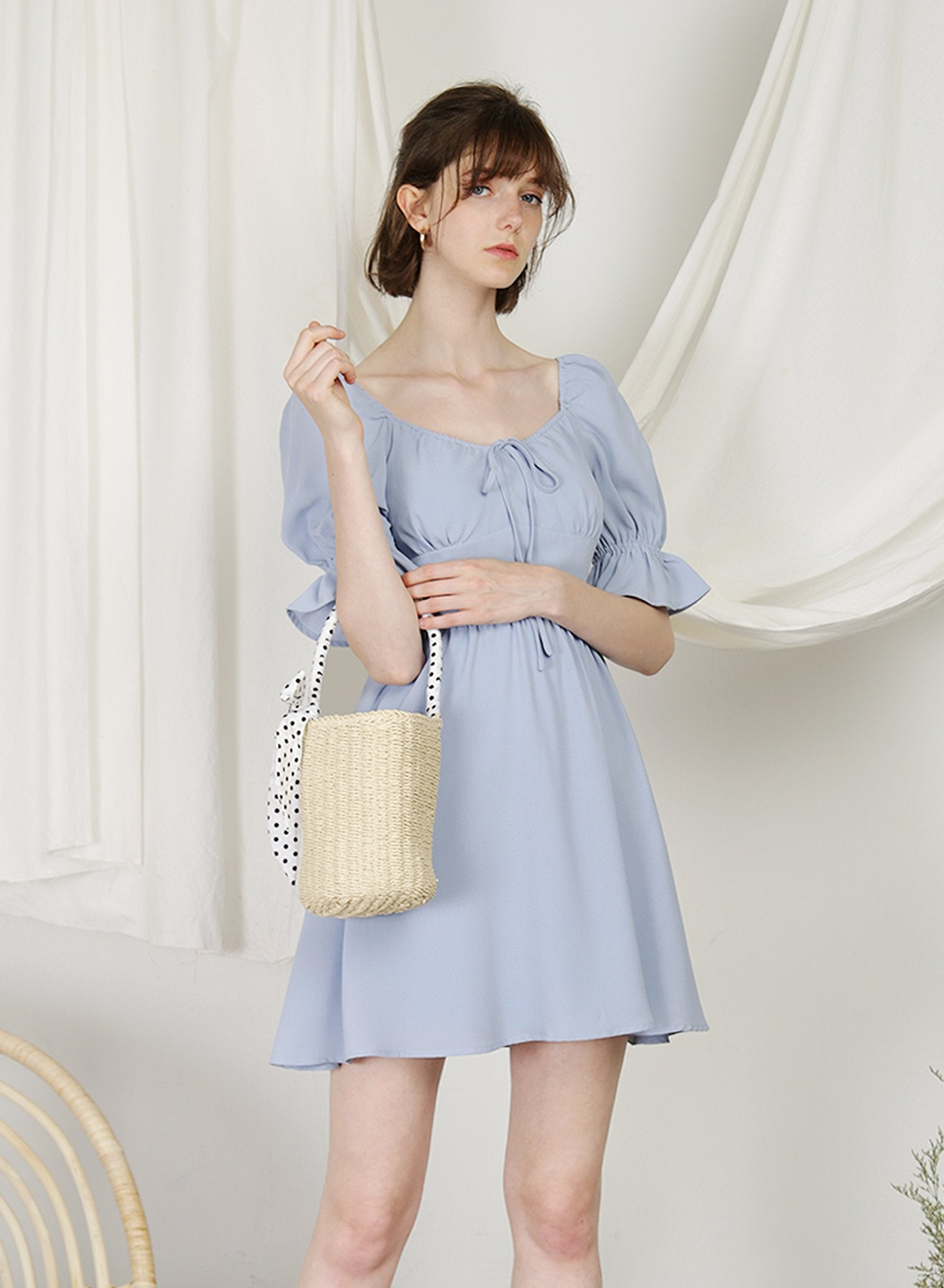 Archive: Cabin Puff Sleeves Dress (Periwinkle)