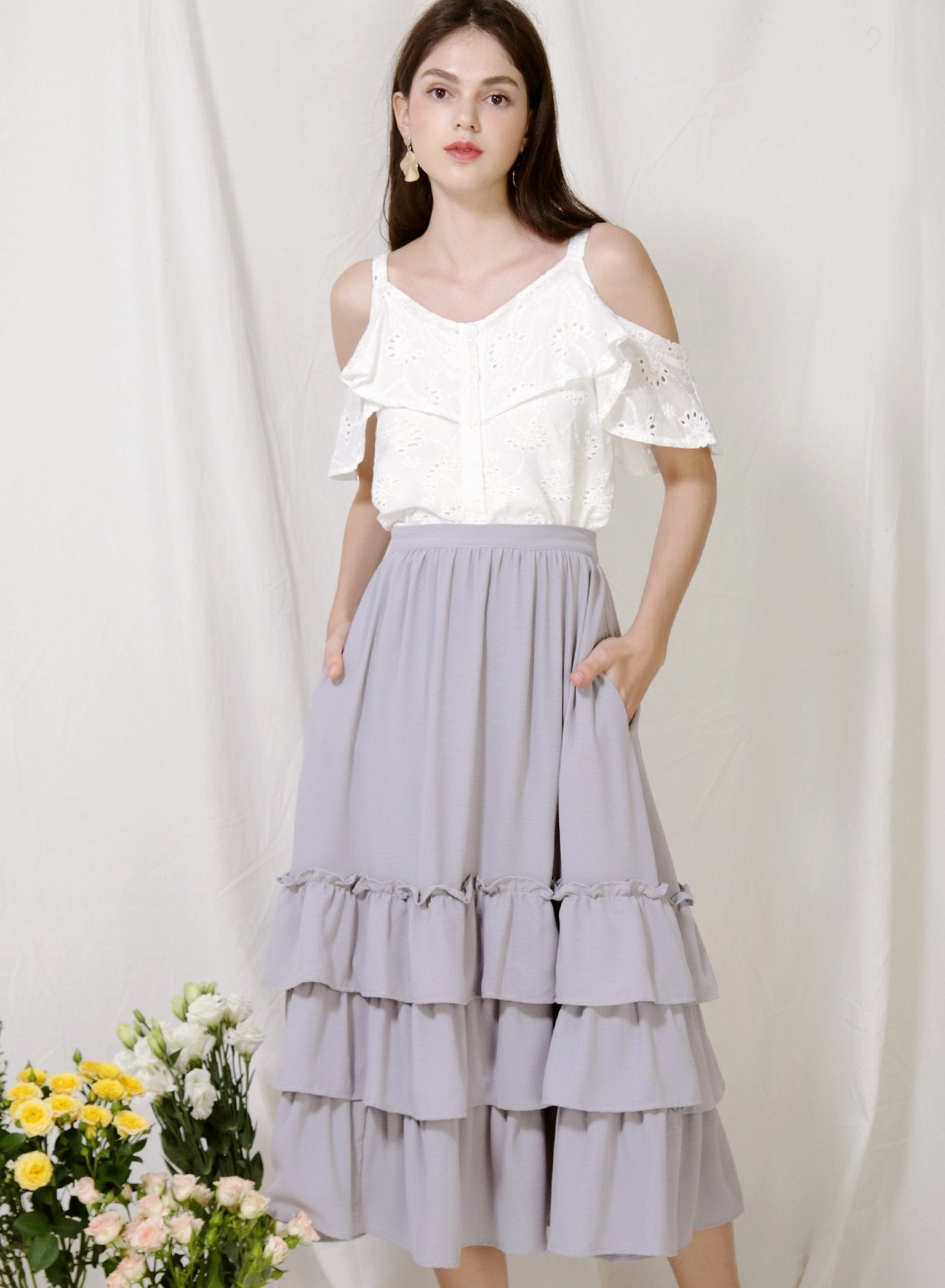 Archive: Charmed Ruffle Tiers Skirt (Lilac Grey)