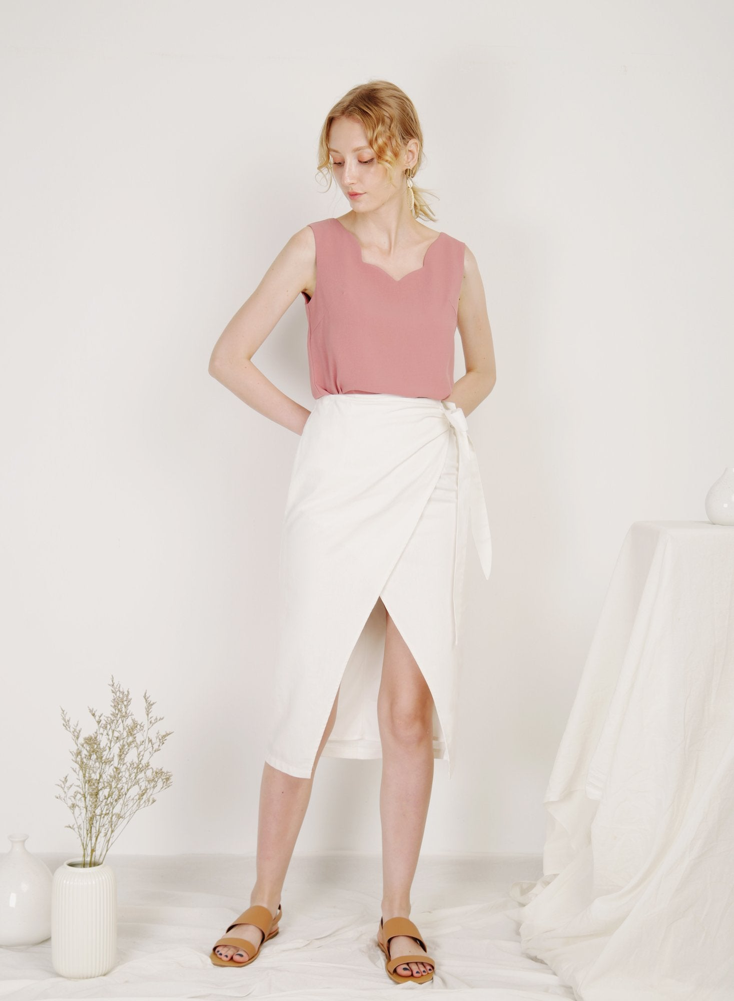 Archive: Soleil Scalloped Neckline Top (Dusk Rose)