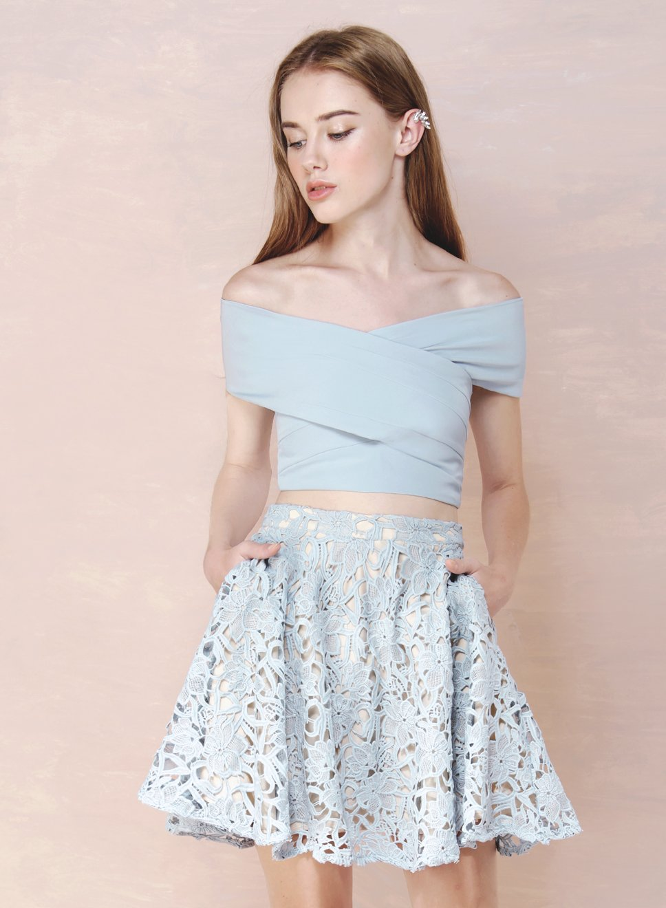 FACADE Crochet Flare Skirt (Sky) - And Well Dressed