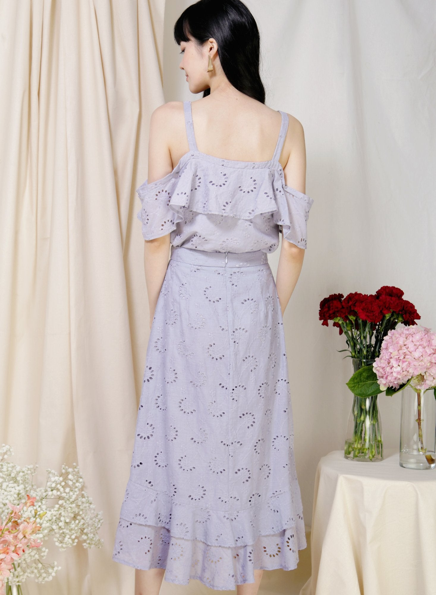 Archive: Adrift Cold Shoulder Eyelet Top (Lilac Grey)