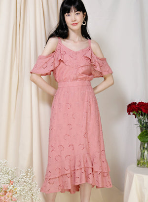 Archive: Adrift Cold Shoulder Eyelet Top (Rose)