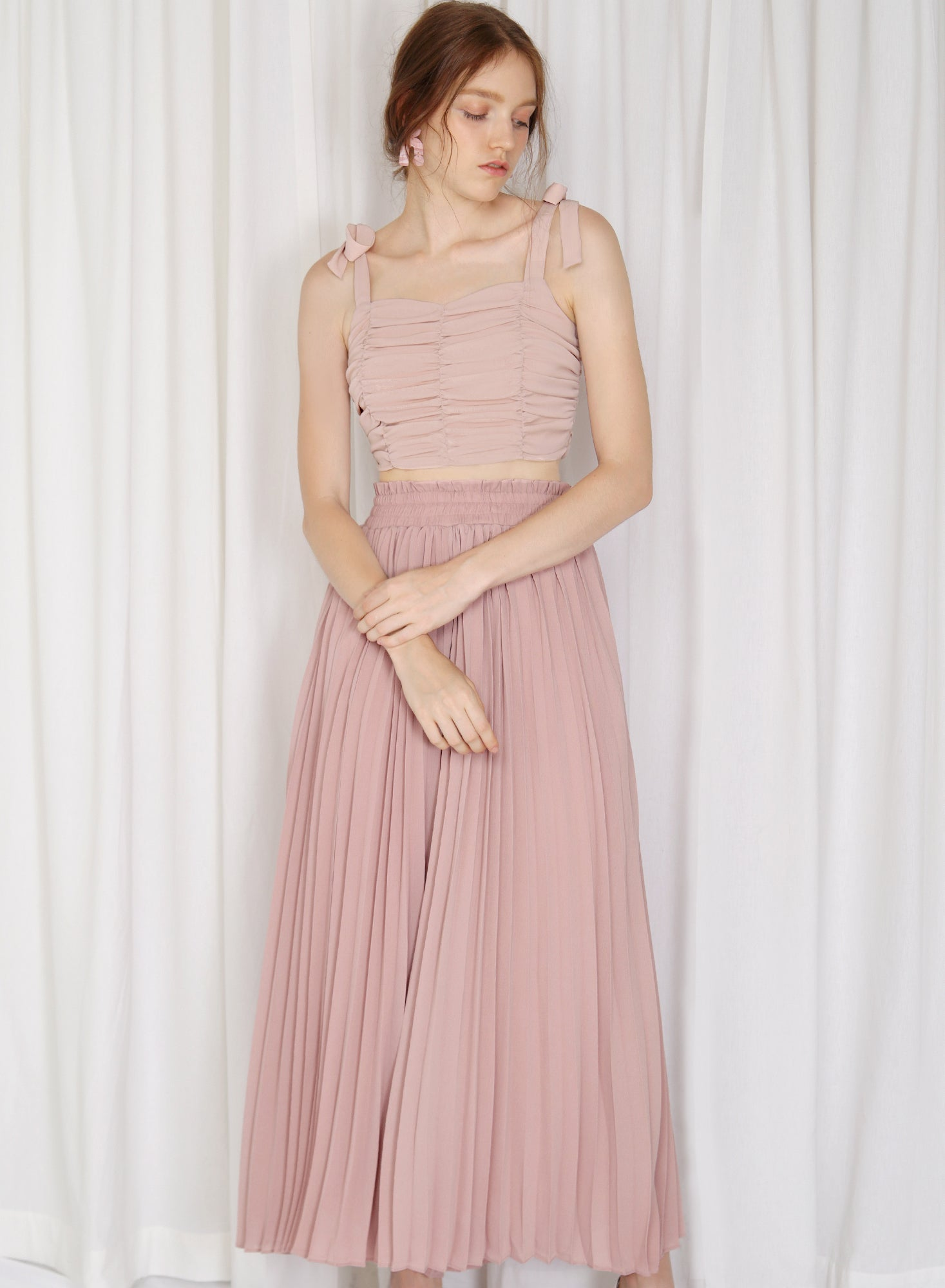 Alto Gathered Waist Pleated Pants (Blush)
