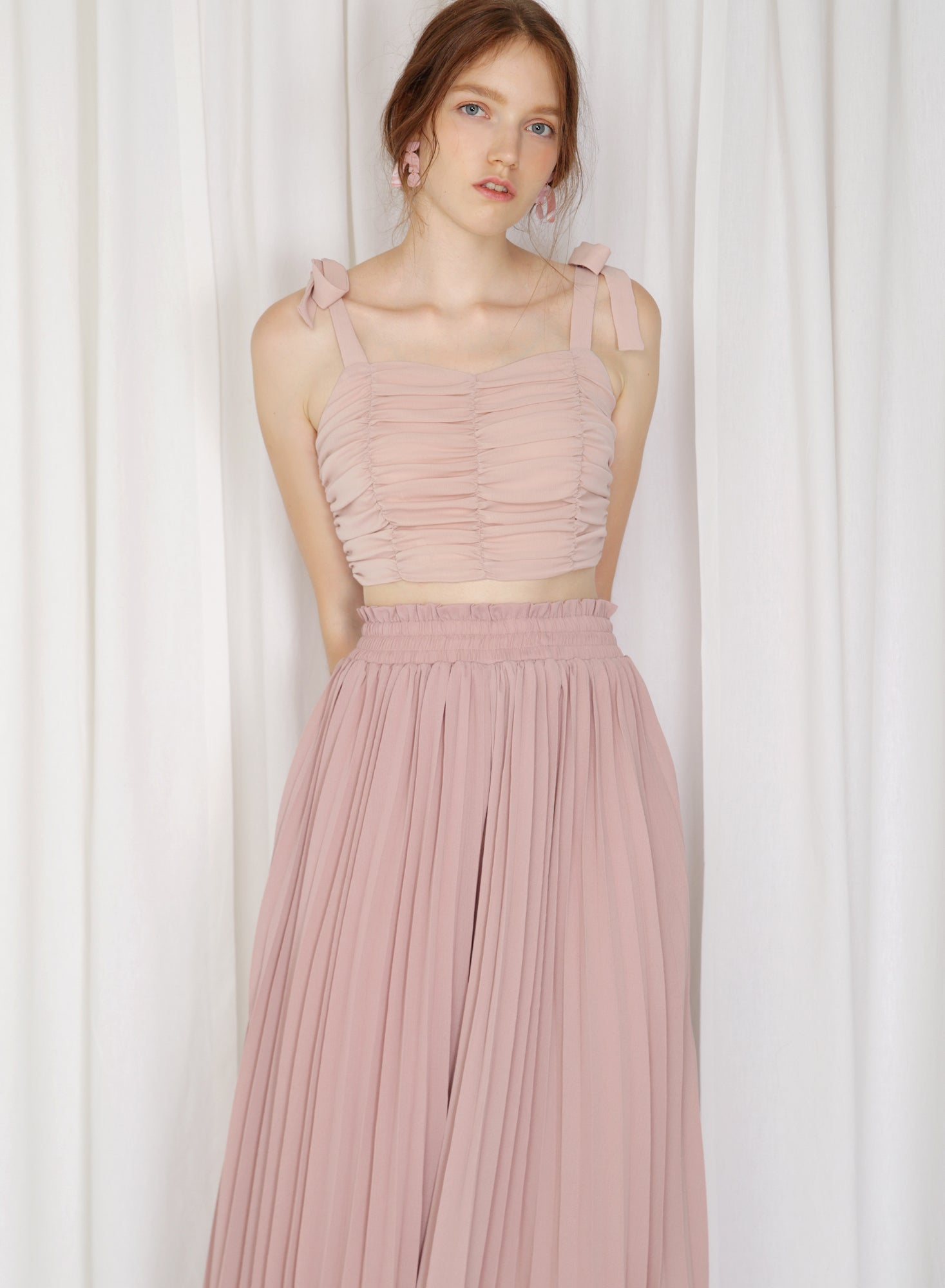 Arcus Ribbon Straps Ruched Top (Crepe Blush)