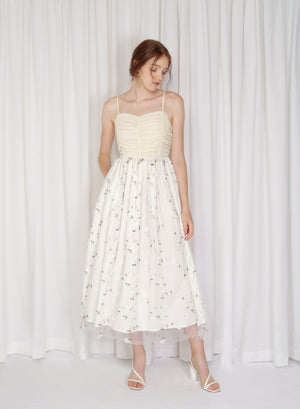 Morning Glory Floral Applique Dress (Cream)