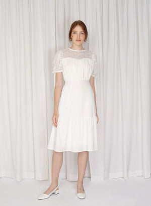Cirrus Lace Insert Puff Sleeves Dress (White)