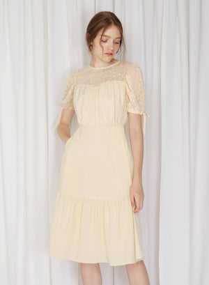 Cirrus Lace Insert Puff Sleeves Dress (Daffodil)