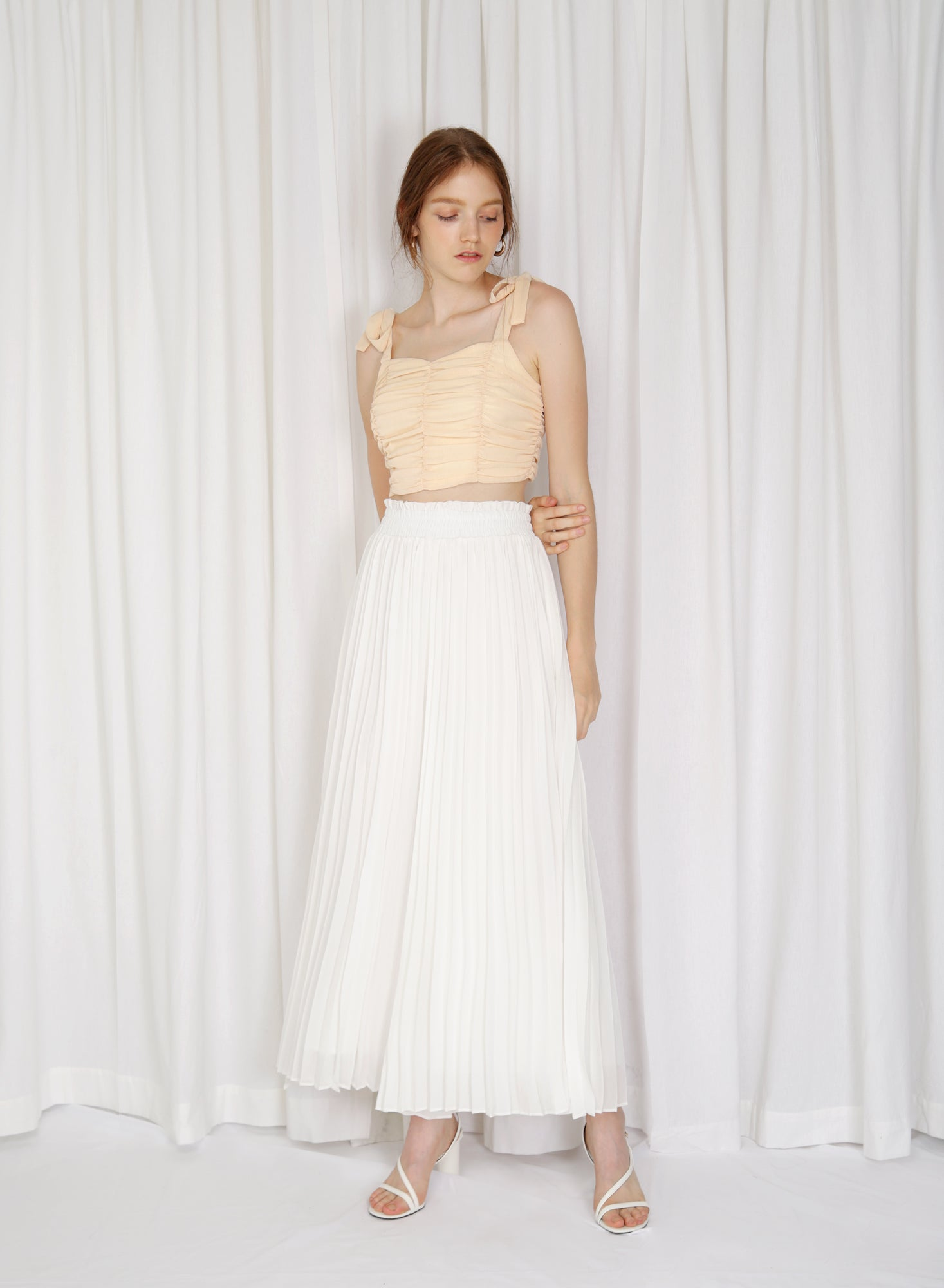 Alto Gathered Waist Pleated Pants (White)