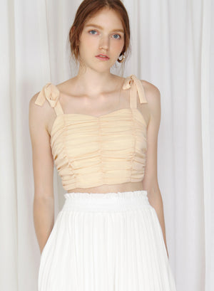 Arcus Ribbon Straps Ruched Top (Daffodil)