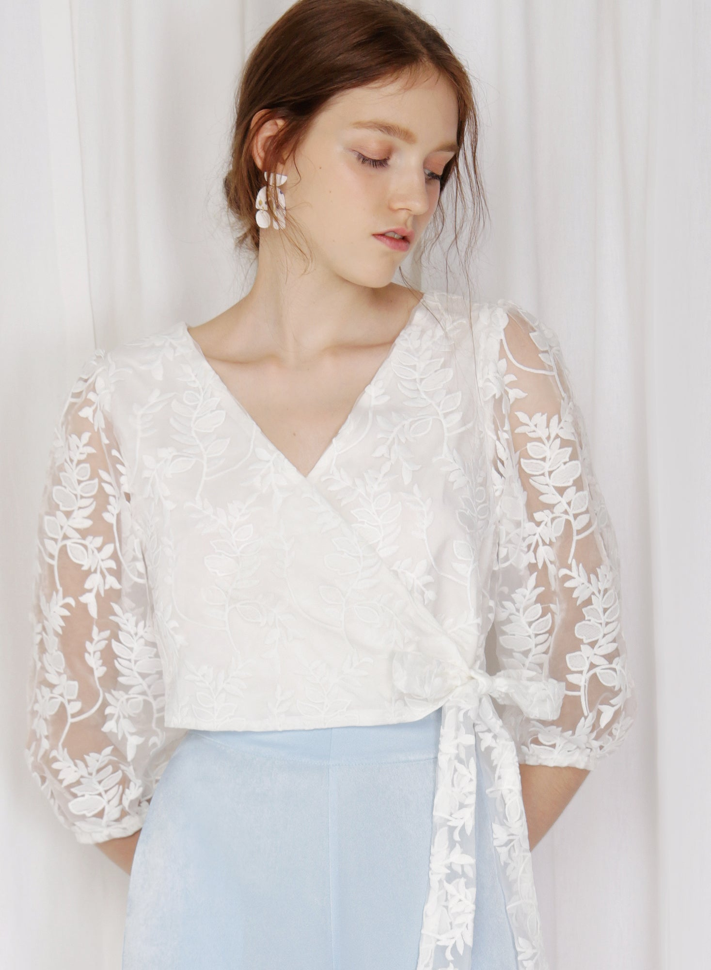 Stratus Organza Wrap Top (White)