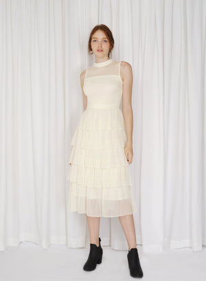 Billow High Neck Tiered Dress (Crème)