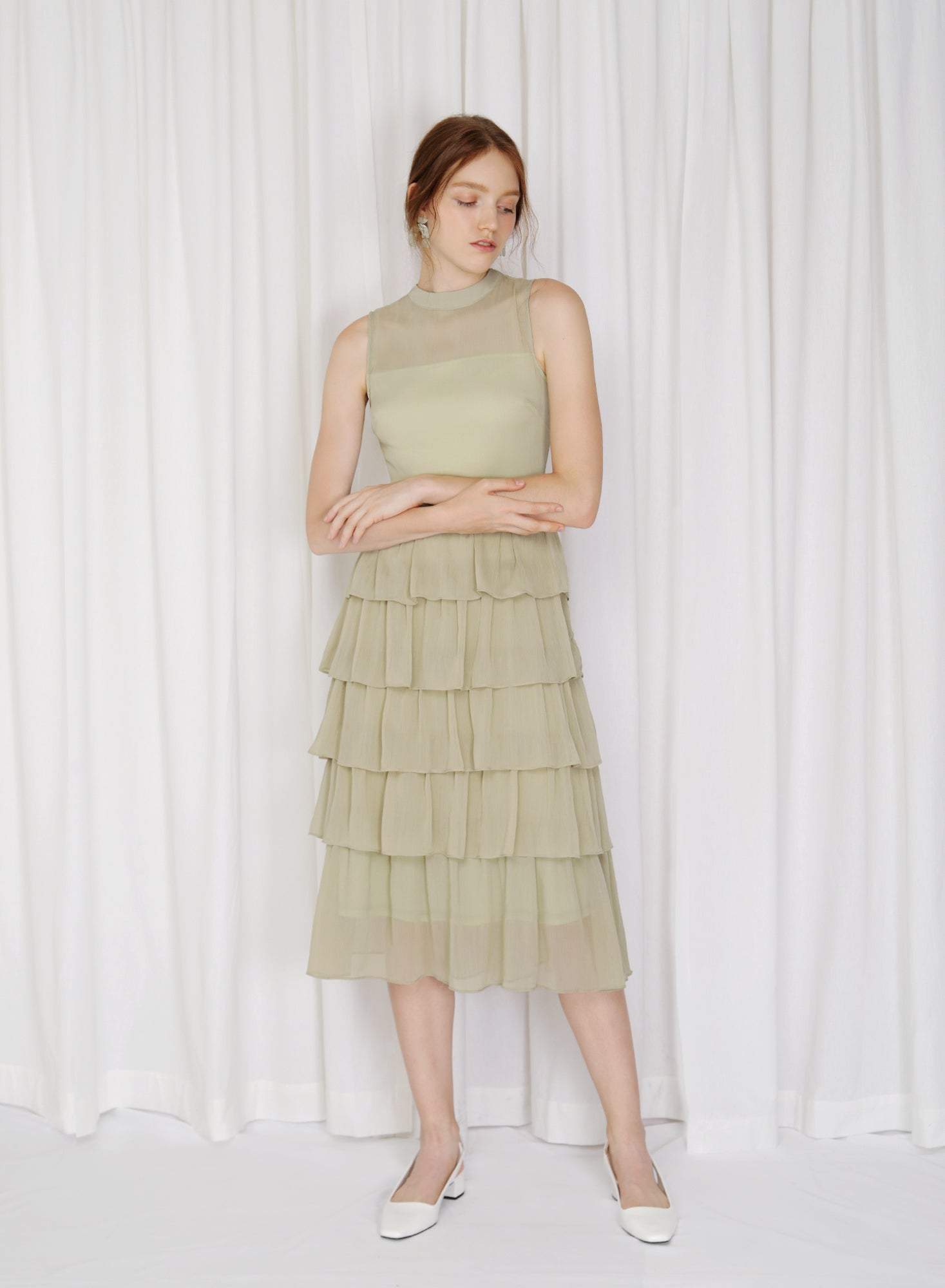 Billow High Neck Tiered Dress (Pear)