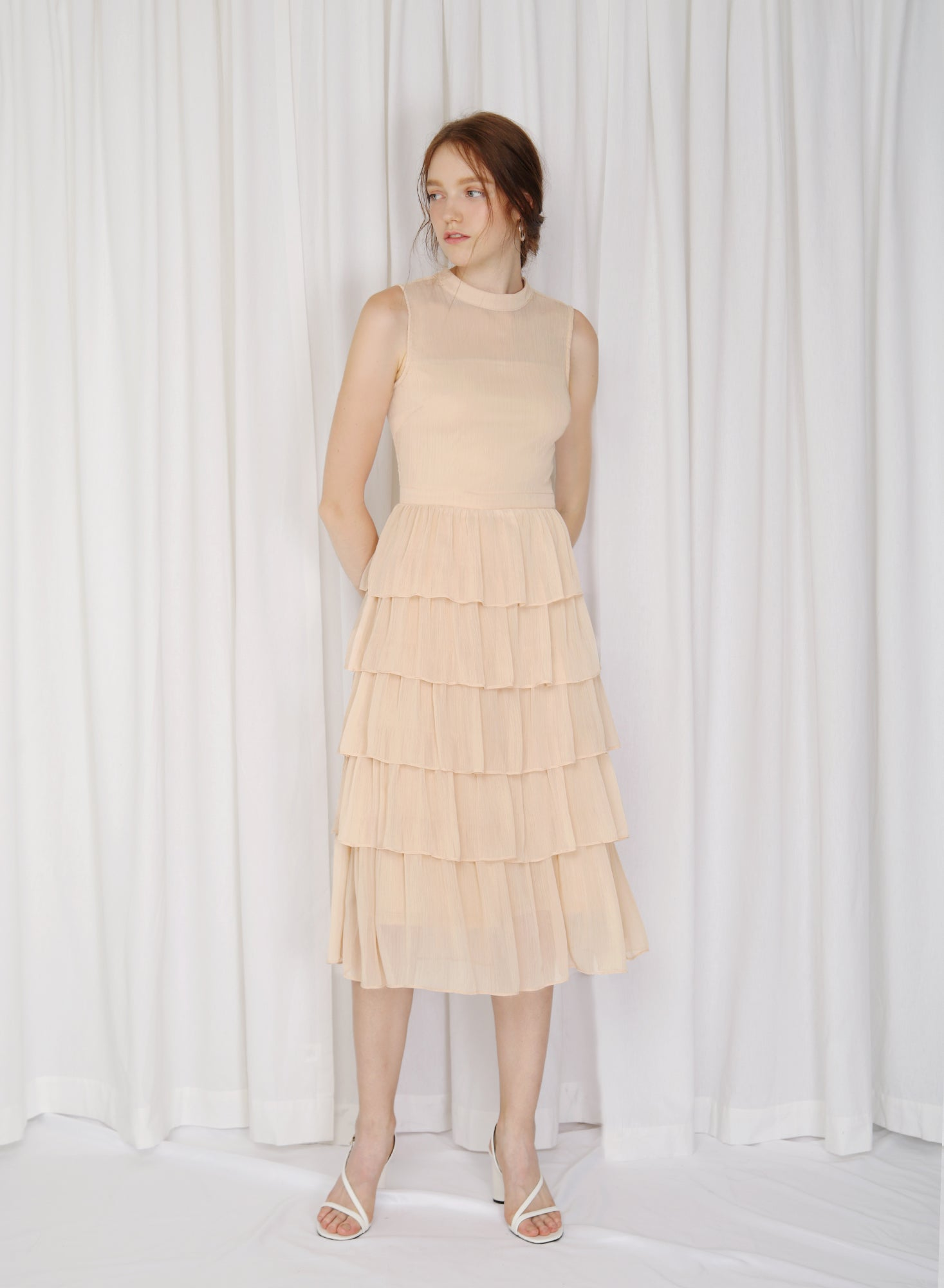 Billow High Neck Tiered Dress (Sherbet)