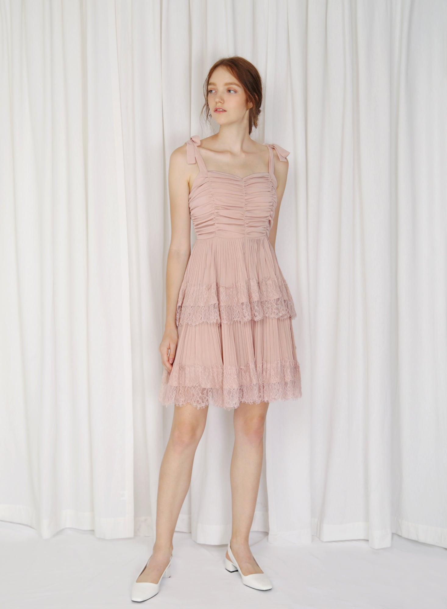 Fractus Lace Trim Pleated Dress (Blush)