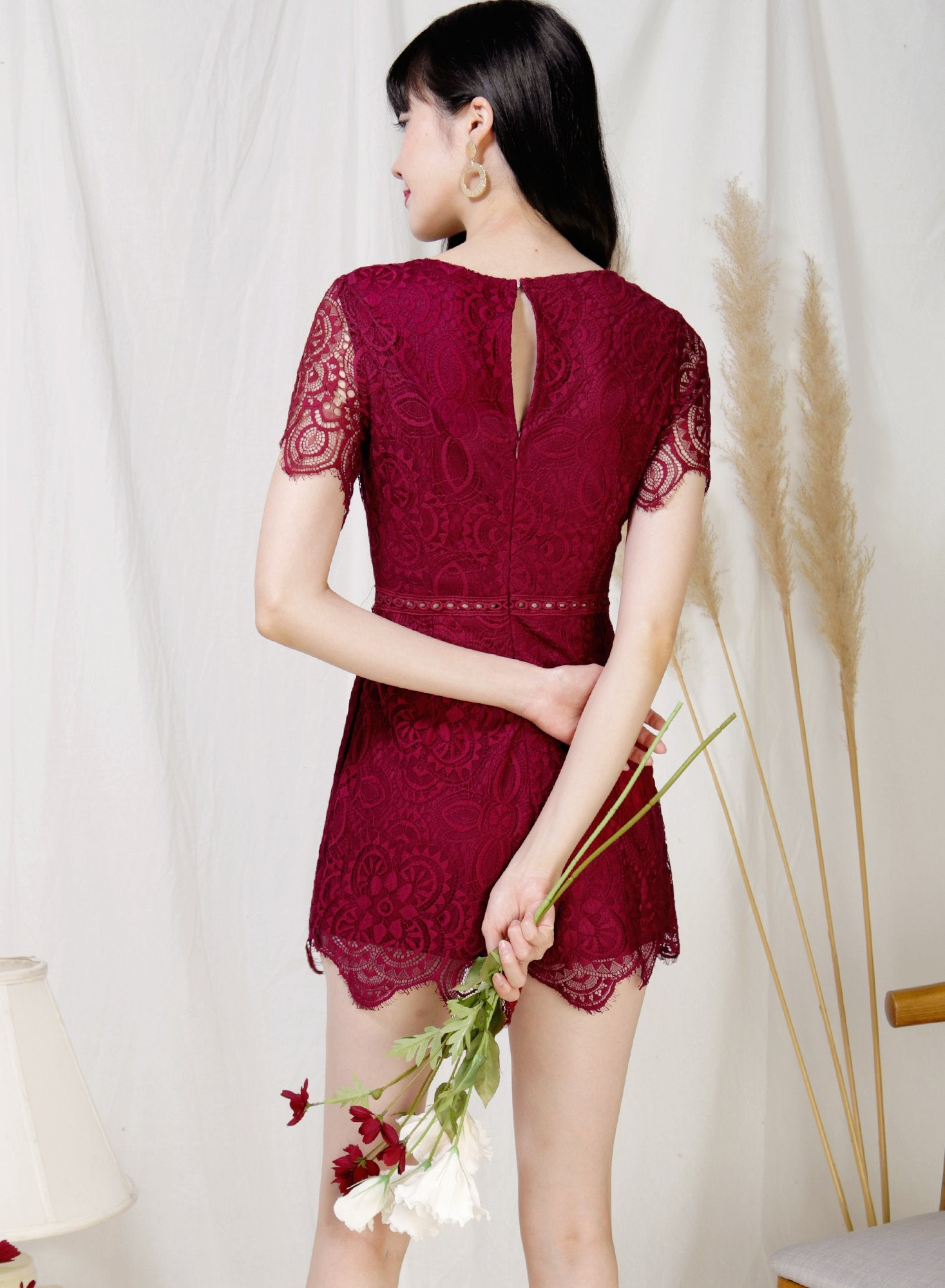 Mystic Eyelash Lace Hem Romper (Wine) - And Well Dressed