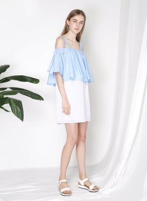 SMITTEN Contrast Cold Shoulder Dress (Blue) - And Well Dressed