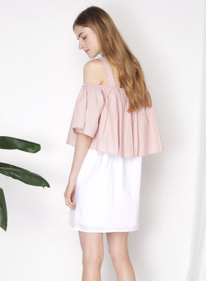 SMITTEN Contrast Cold Shoulder Dress (Blush) - And Well Dressed