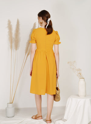 Archive: Charmer Puff Sleeves Button Front Dress (Mango)