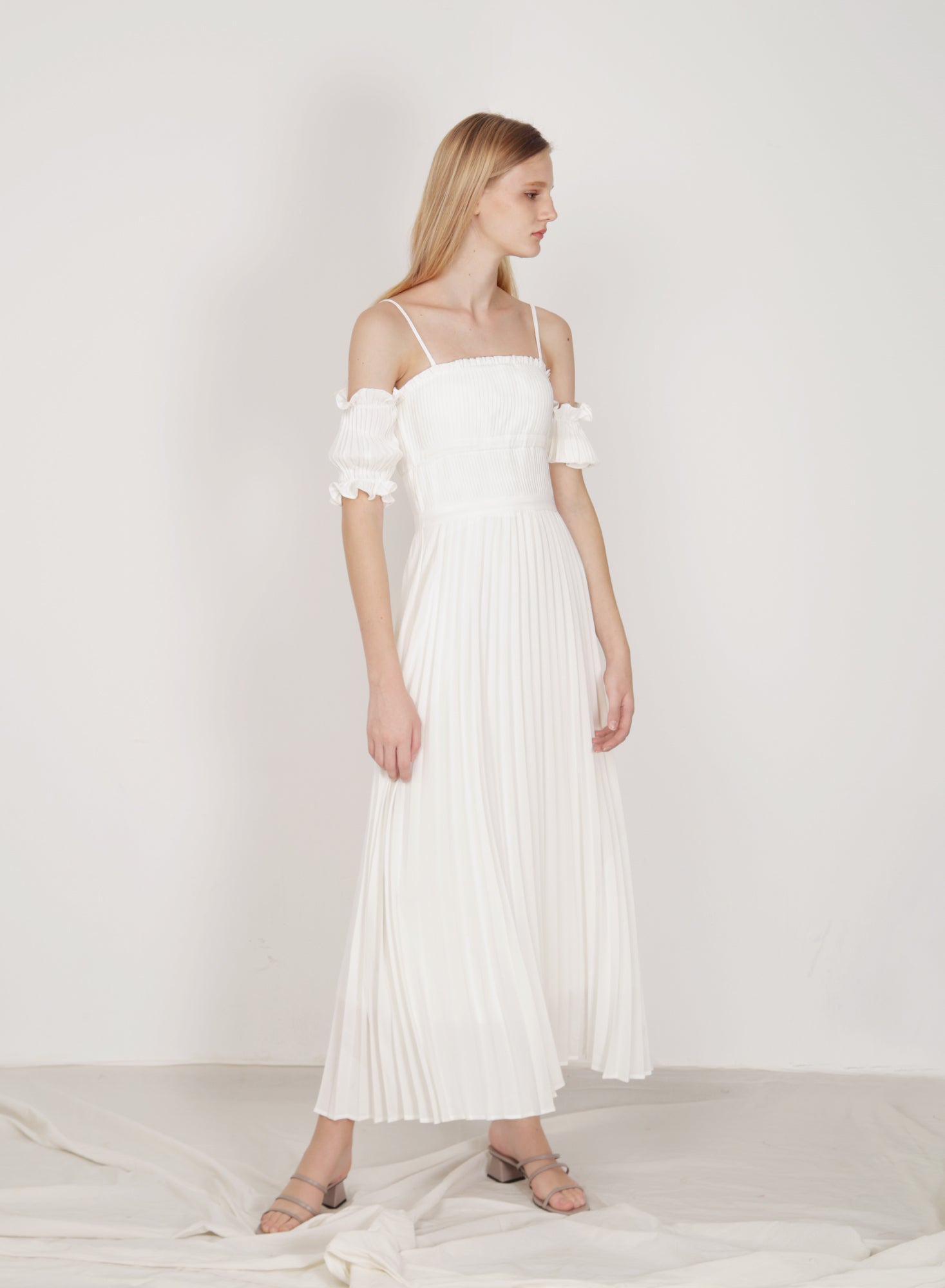 Atelier Pleated Maxi Dress (White)