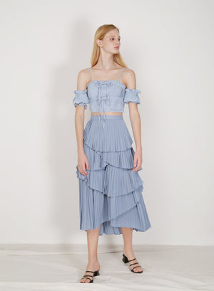 Nouveau Pleated Tiers Skirt (Dusk Blue)