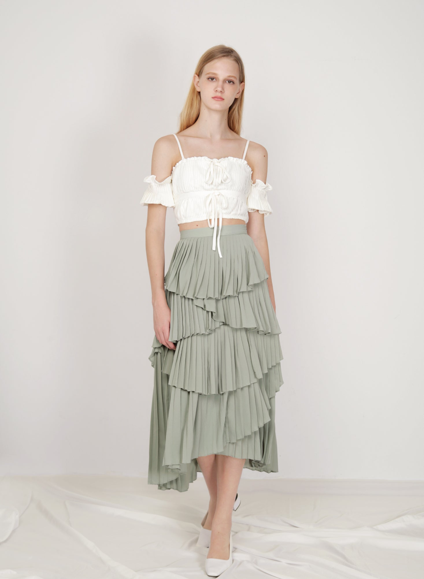 Nouveau Pleated Tiers Skirt (Melon)