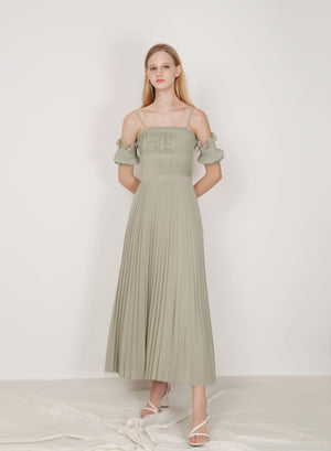 Atelier Pleated Maxi Dress (Melon)