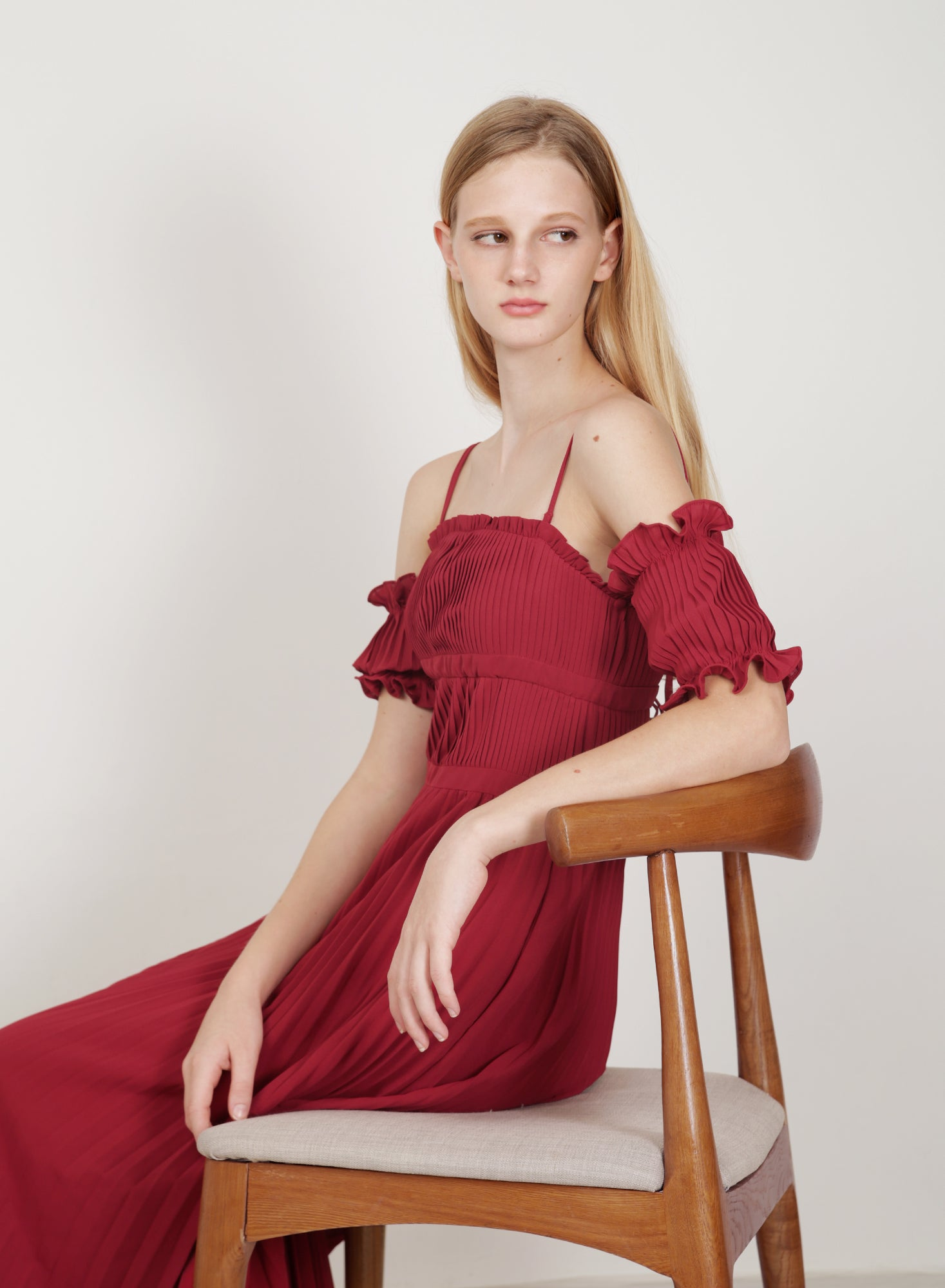 Atelier Pleated Maxi Dress (Berry)