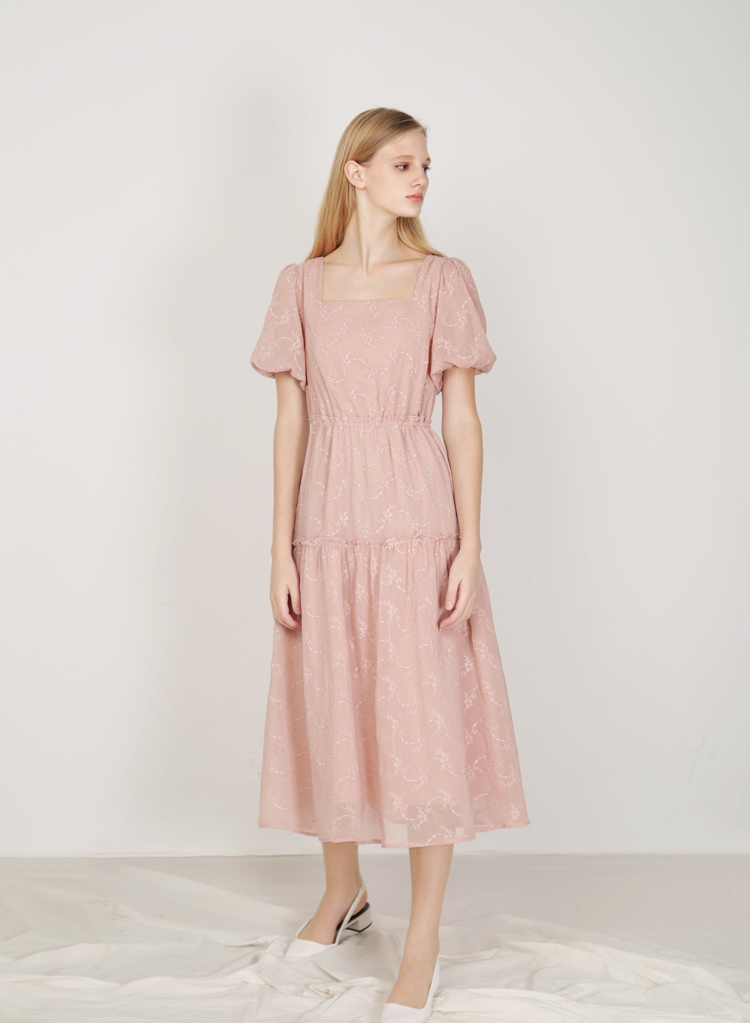 Facade Ribbon Tie Dress (Blush)