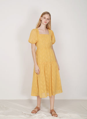Facade Ribbon Tie Dress (Canary)