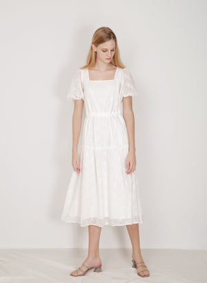 Facade Ribbon Tie Dress (White)