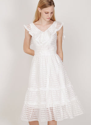 Montage Ruffled Organza Dress (White)