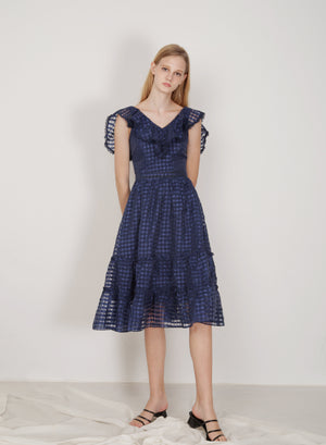Montage Ruffled Organza Dress (Navy)