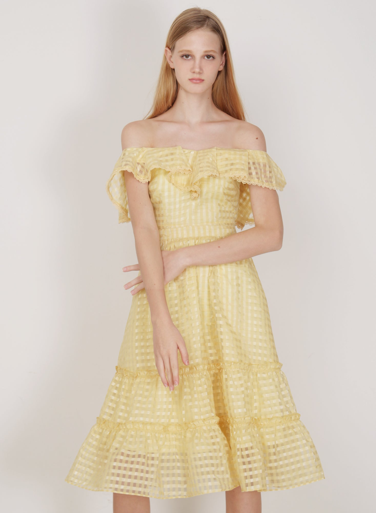 Montage Ruffled Organza Dress (Daffodil)