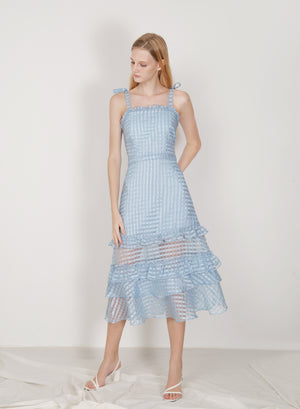 Relic Ribbon Straps Organza Dress (Sky)