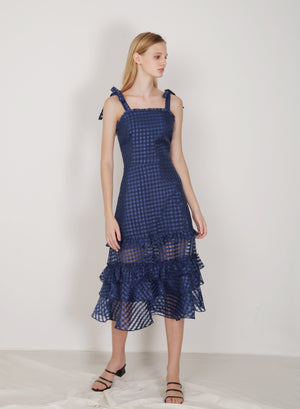 Relic Ribbon Straps Organza Dress (Navy)