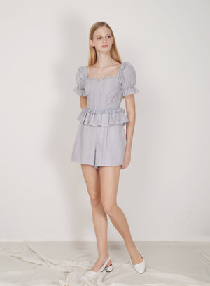 Runes Embroidered Cotton Romper (Wisteria)